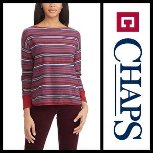 Chaps Red Striped Boatneck Sweater NWT 2X
